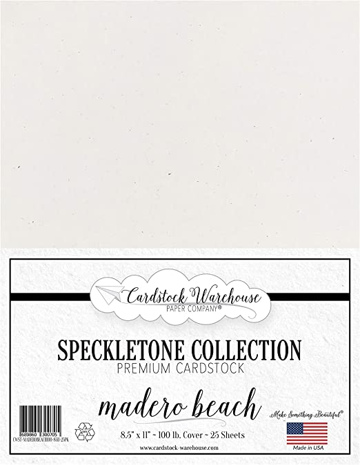 COVER 12 x 12 inch MADERO BEACH WHITE SPECKLETONE Recycled Cardstock Paper PREMIUM 80 LB 25 Sheets