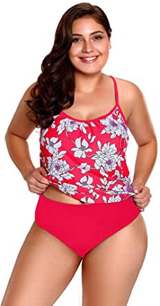 67bbf6ae8e869 Amazon.com: Dear-Queen Red White Floral Tankini 2pcs Bathing Suit ...