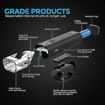 TEMINICE Juego de Luces para Bicicleta Recargables por USB, 8 ...