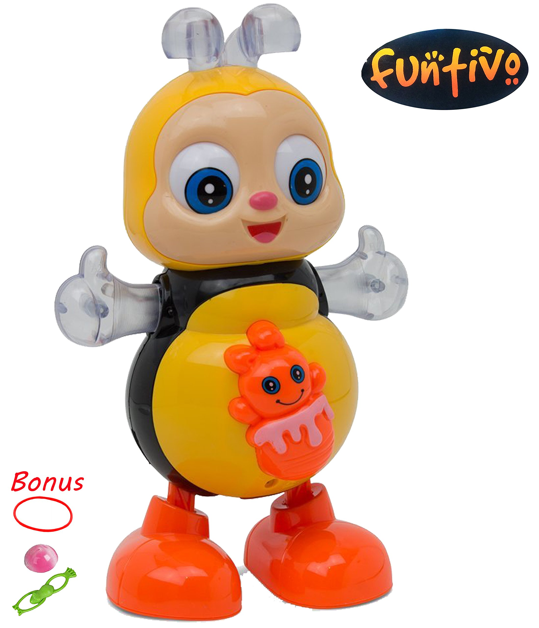 Battery Operated babies//kids Action Toy Size 8.5/'/' FUNTIVO Happy Bee Dancing Swing with Lights and Music
