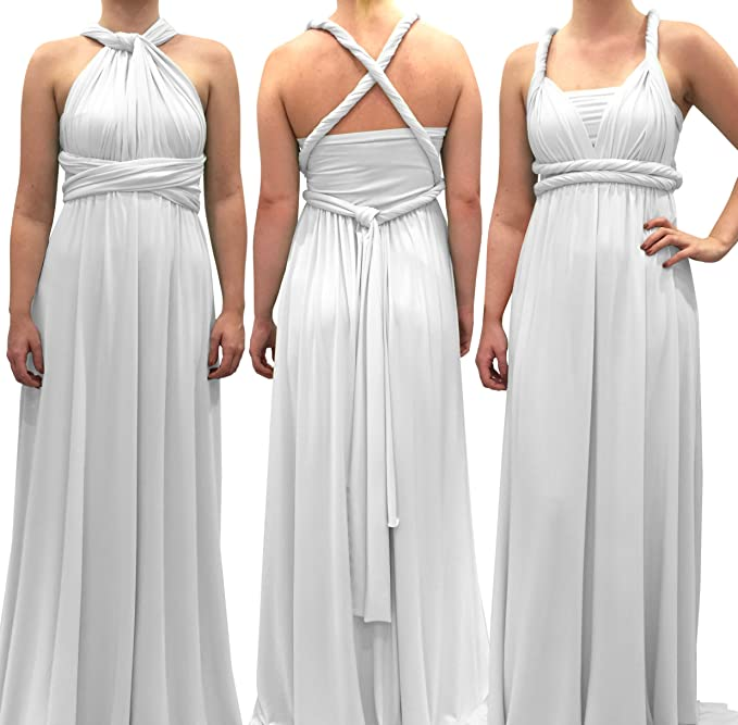 71a33a6cb4b5 4Now Fashions White Infinity Dress Long Bridesmaid Dress Prom Convertible  Multiway: Amazon.ca: Clothing & Accessories