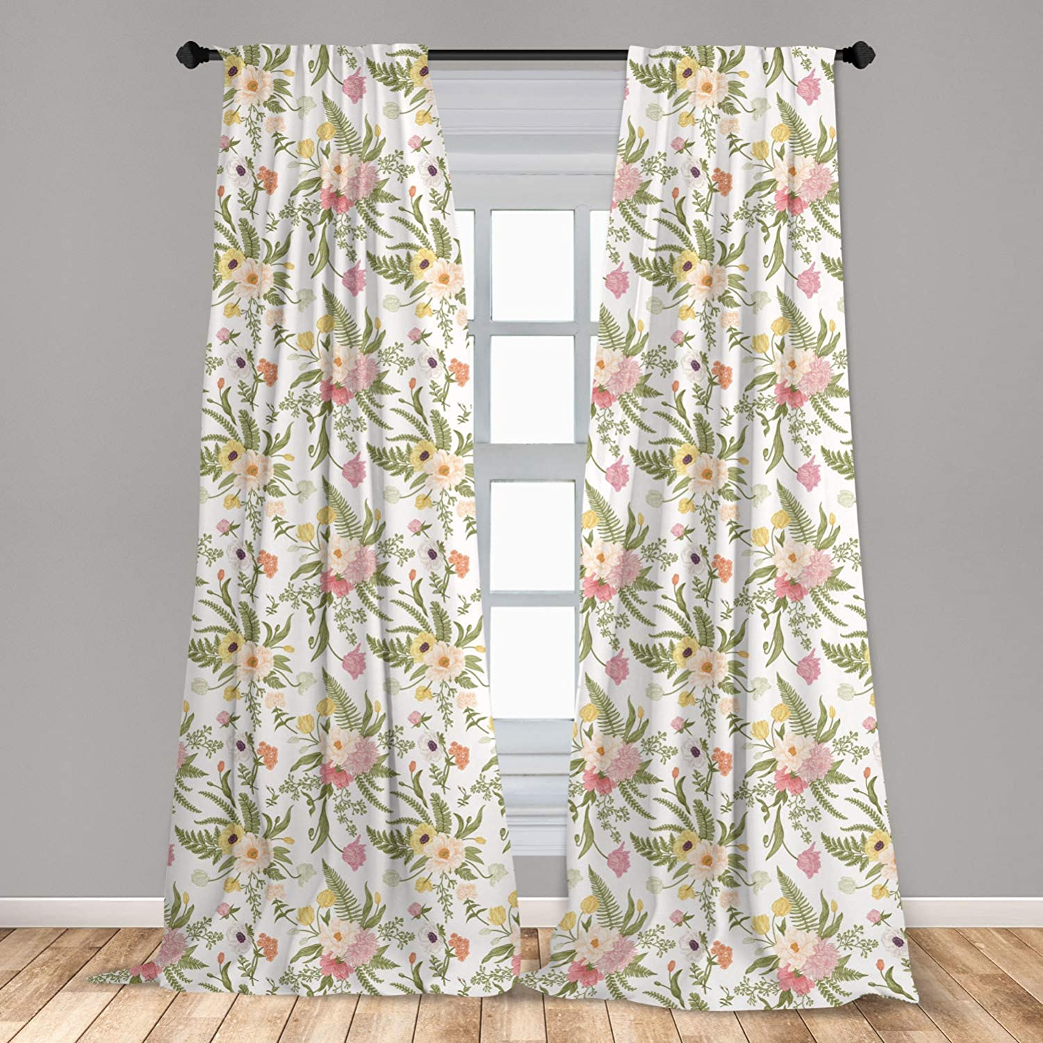 Ambesonne English Garden Curtains, Repetitive Floral Pattern with Vintage Different Flowers Bouquet, Window Treatments 2 Panel Set for Living Room Bedroom Decor, 56
