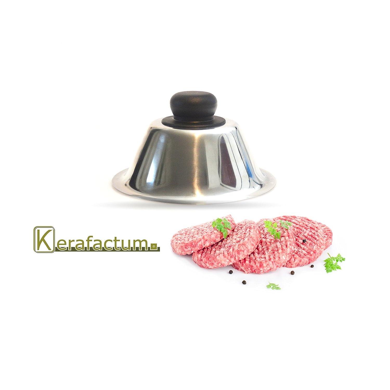 Kerafactum® - Burger Cloche Campana para Hamburger Cheeseburger Carne cubierta pattys barbacoas - Cubrir y queso Funde Lassen - Acero inoxidable con pomo ...