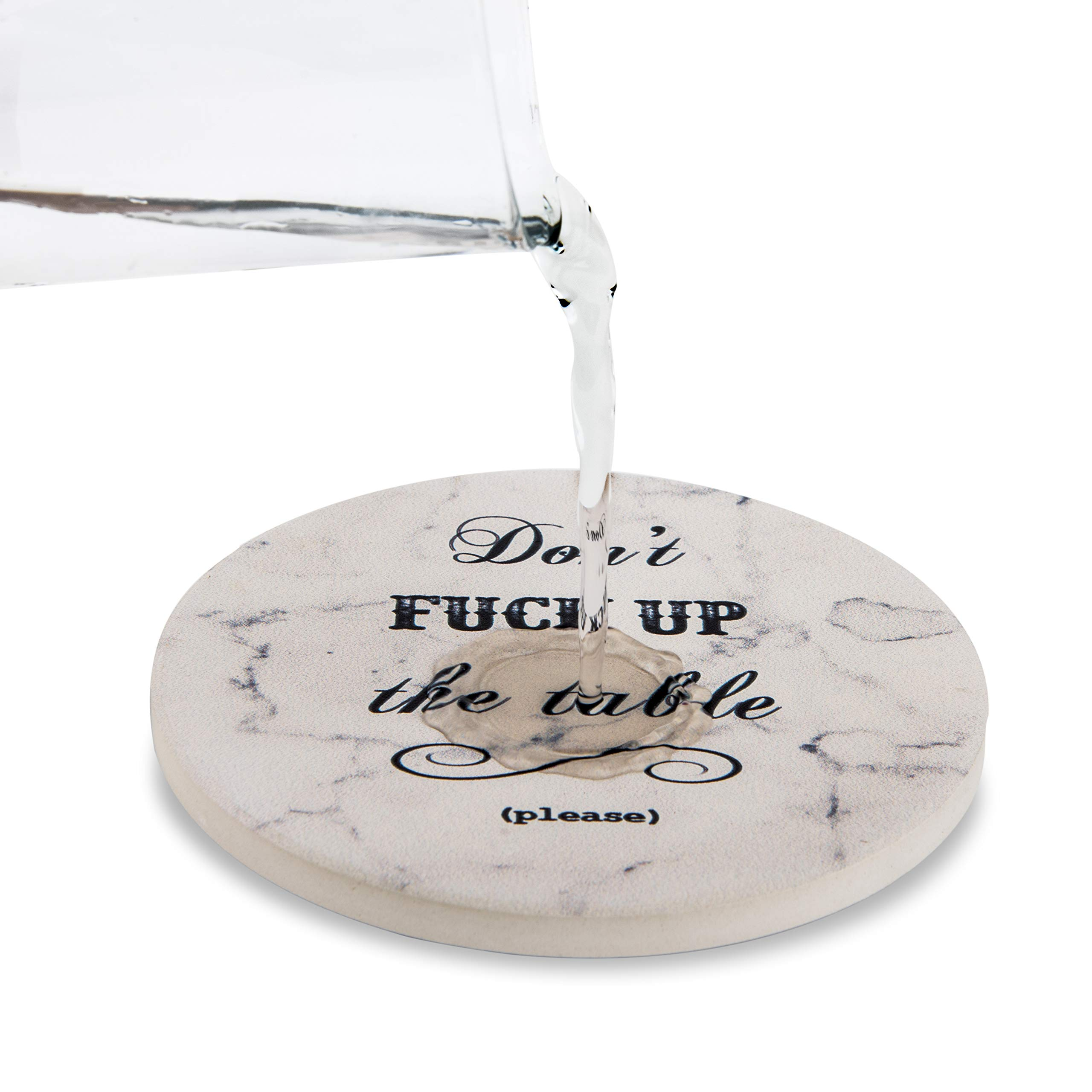 Urban Mosh Coasters for Drinks - Funny Absorbent Ceramic Stone Set of 6 White Marble Style with Cork Backing and Holder Included, Protect Your Furniture From Spills, Scratches, Water Rings and Damage by Urban Mosh (Image #7)