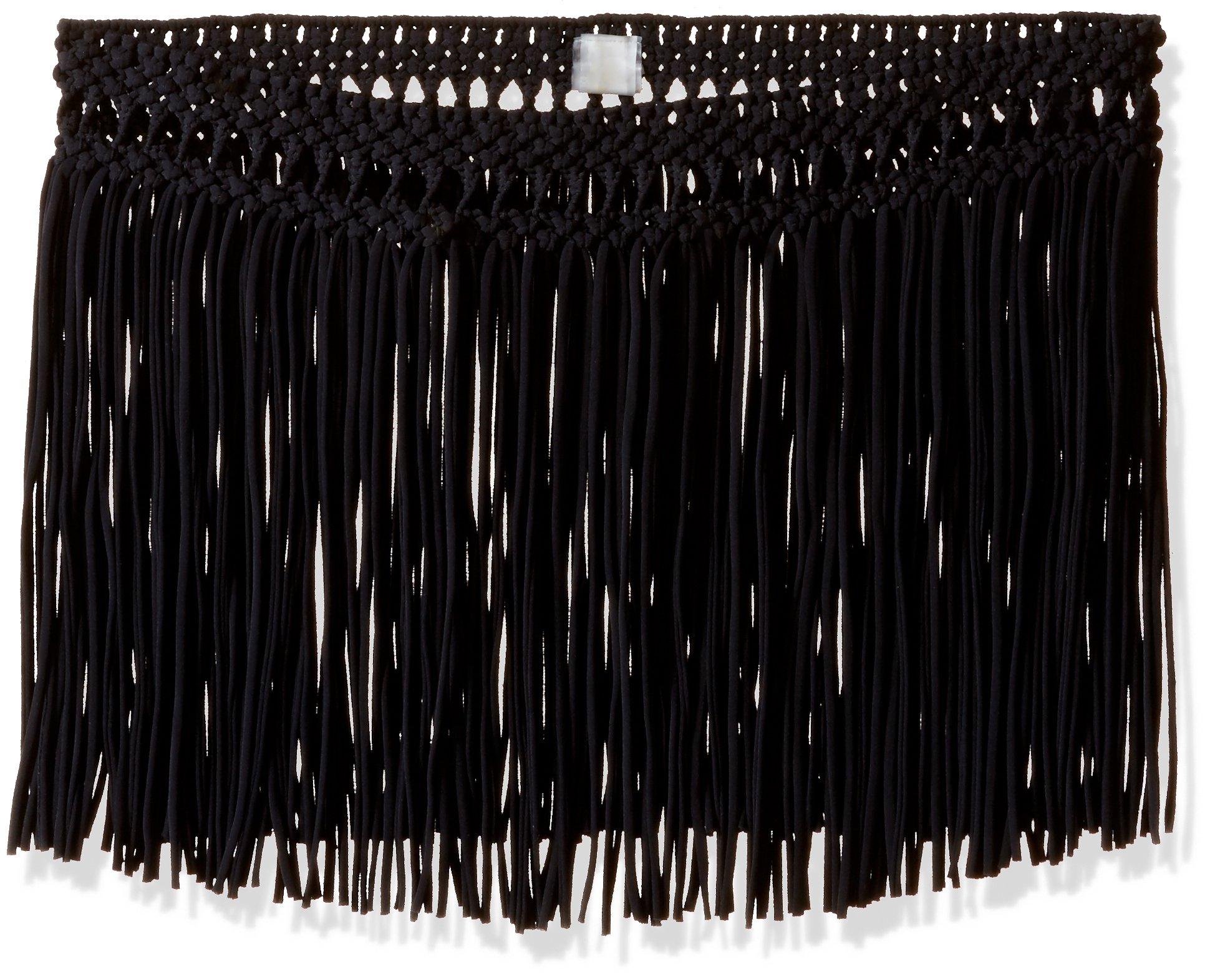 PilyQ Women's Cover-up Fringe Skirt, Black/Gold, Medium/Large