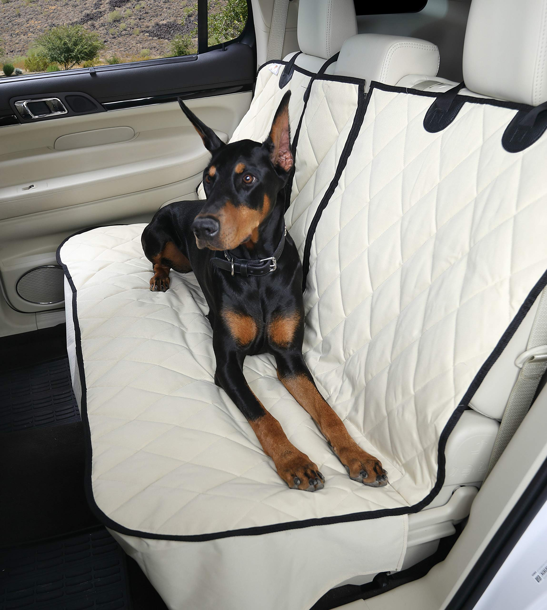 4Knines Dog Seat Cover Without Hammock for Fold Down Rear Bench SEAT 60/40 Split and Middle seat Belt Capable - Tan Extra Large - for Full Size Trucks and Large SUVs - USA Based Company