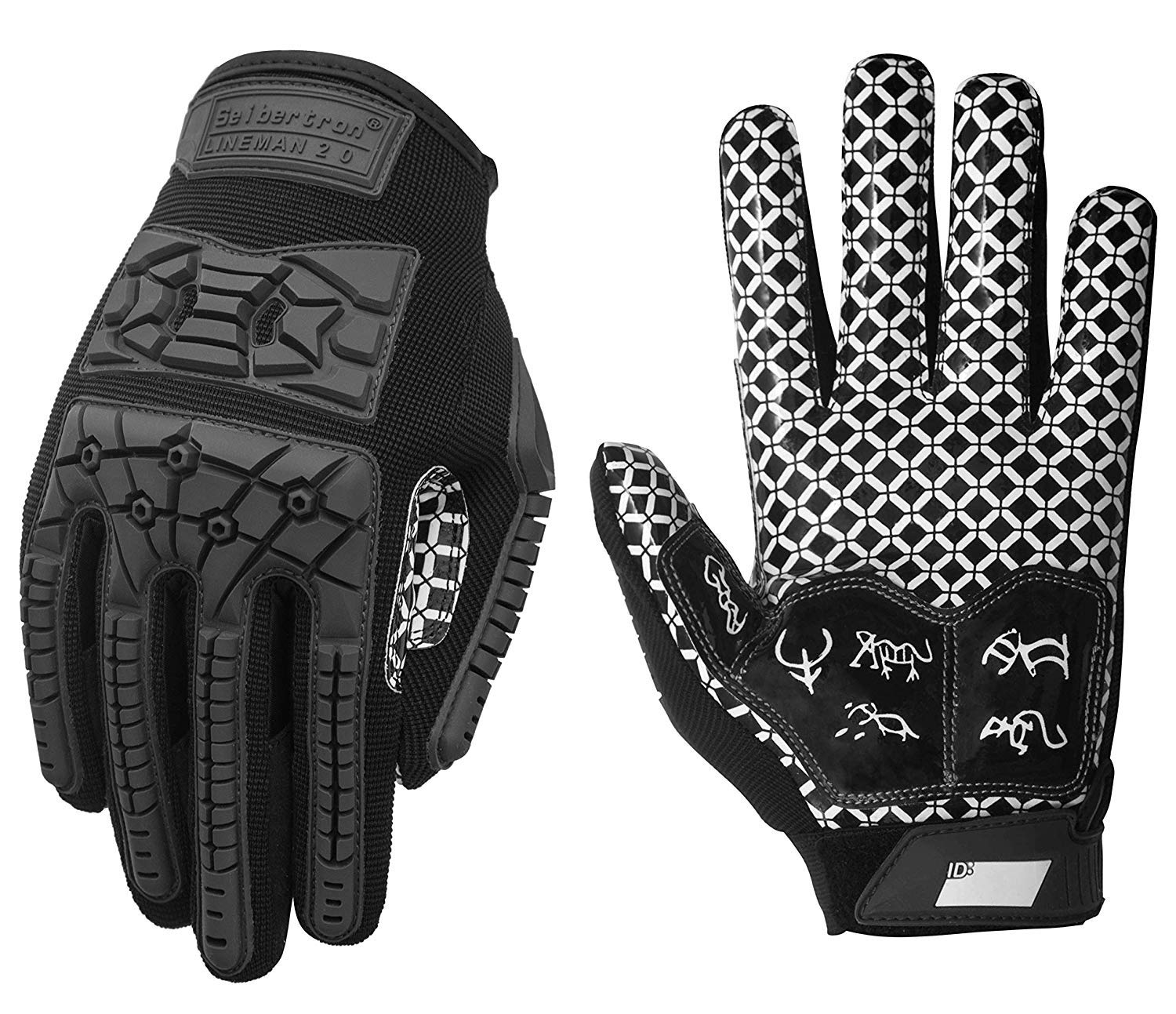 Flexible TPR Impact Protection Back of Hand Glove Adult Sizes Black XL Seibertron Lineman 2.0 Padded Palm Football Receiver Gloves