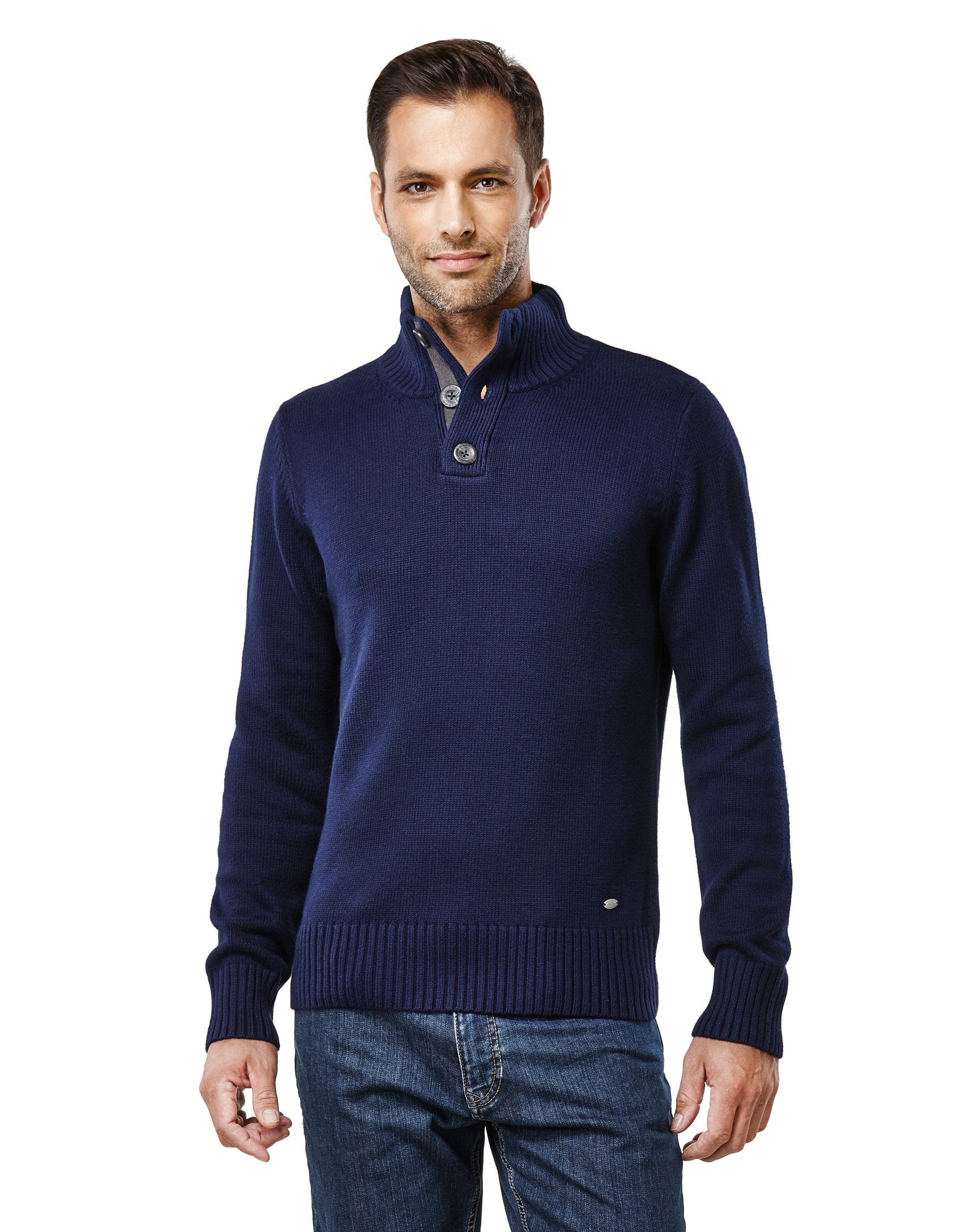 Vincenzo Boretti Men's Sweater Troyer Chunky Knit Ribbed Turtle-n Dark Blue Large
