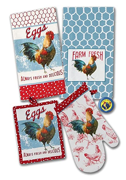Superieur Rooster Kitchen Décor Bundle: Kitchen Towel Set With Potholder, Oven Mitt,  And Rooster