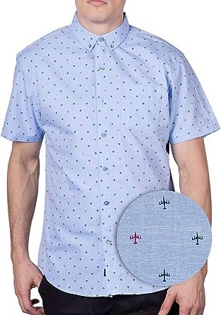 84e1005f0a6 Visive Mens Hawaiian Shirt Short Sleeve Button Down Blue Plane Shirts  (Airplane