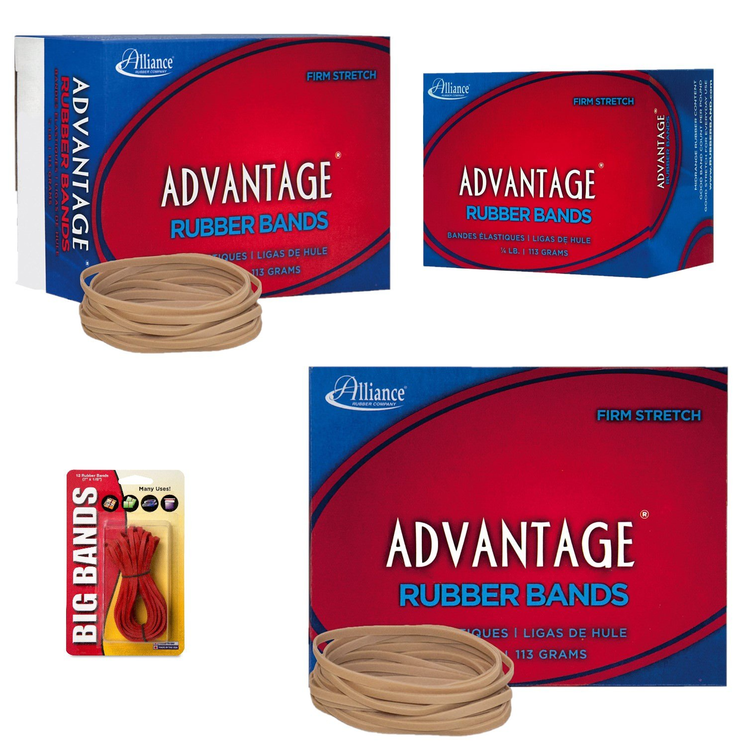 Alliance Rubber 26339 Advantage Rubber Bands Size #33, 1/4 lb Box Contains Approx. 350 Bands (3 1/2'' x 1/8'', Natural Crepe) Bundle with 12 Big Rubber Bands
