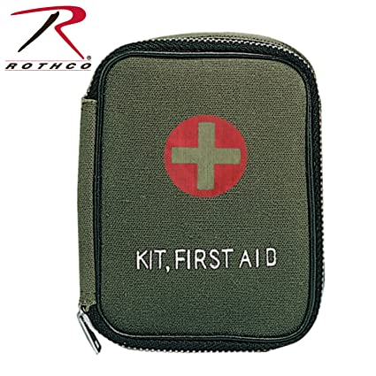 Amazon com : Rothco Military Zipper First Aid Pouch, Olive