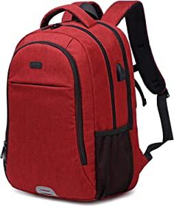 Abshoo Travel Laptop Backpack Computer Anti Theft Multi Pocket Laptops Backpack with USB Charging Port Water Resistant College School Bag for Women & Men Can Fits 15.6 Inch Laptop (Red)