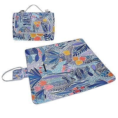 COOSUN Tropical Floral Motif couverture de pique-nique Sac pratique Tapis résistant aux moisissures et étanche Tapis de camping pour les pique-niques, les plages, randonnée, Voyage, Rving et sorties