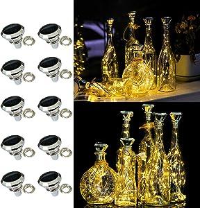 Solar Diamond Bottle Lights, 10 Pack Solar Powered Wine Bottle Lights, 20 LED Waterproof Bottle Lights Fairy Cork String Craft Lights for Garden Patio Outdoor Tabletop Decor (Warm White)