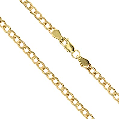 """eb0950863e8b 14k Yellow Gold Solid Pave Curb Link Chain 2mm Necklace 16"""" (G4-PVCRB"""