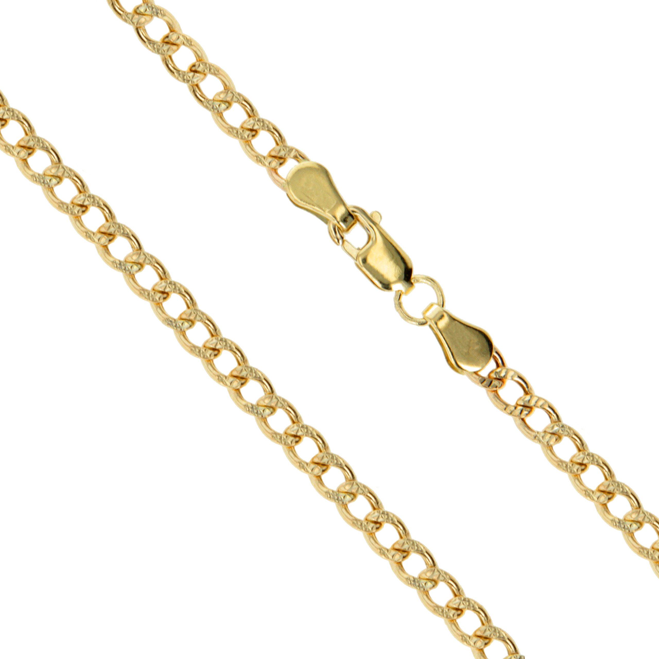 14k Yellow Gold Solid Pave Curb Link Chain 2.5mm Necklace 24''