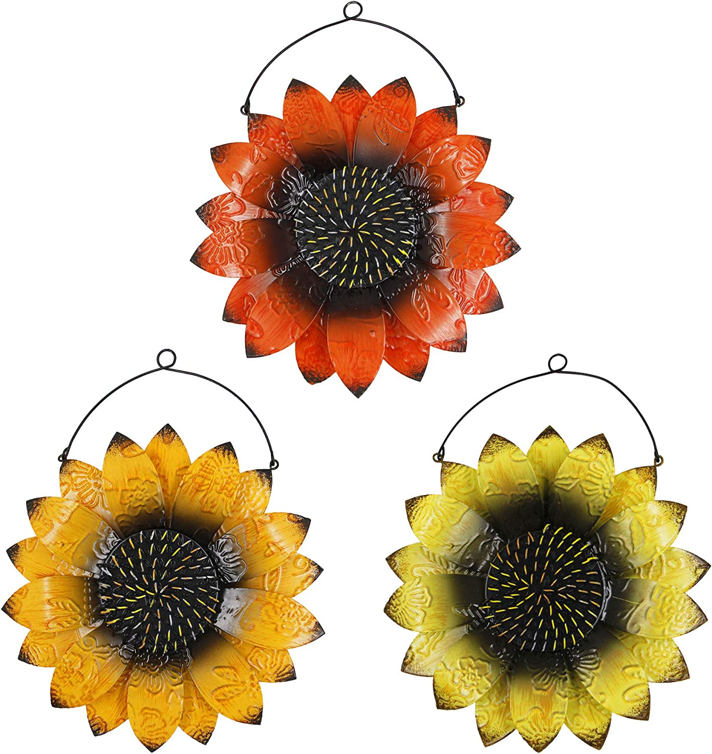 Juegoal 3 Pack Metal Flower Wall Art Inspirational Wall Sunflower Decor Sculpture Hanging for Indoor Outdoor Home Bedroom Living Room Office Garden, Red, Yellow and Orange with 8.7 Inch Each
