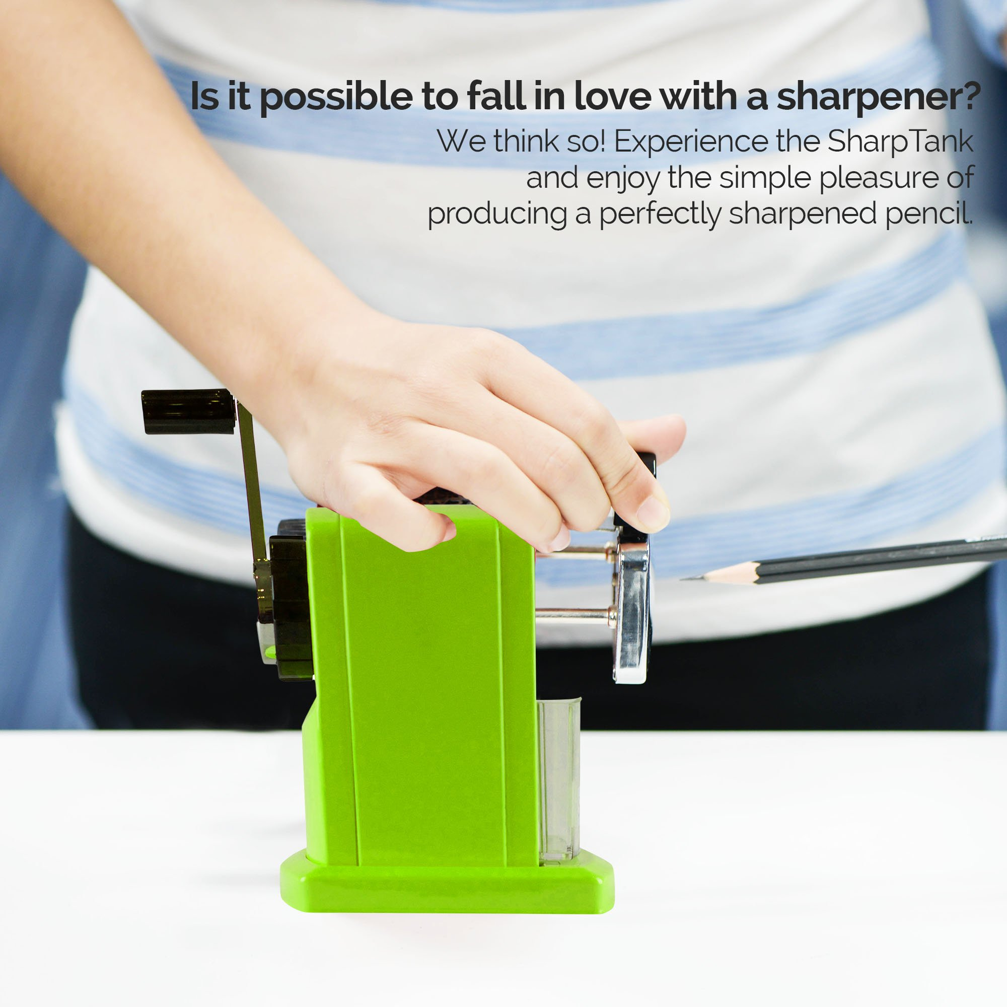 SharpTank - Portable Pencil Sharpener (Key Lime Green) - Compact & Quiet Classroom Sharpener That Gets Straight to The Point! by SHARP TANK (Image #3)