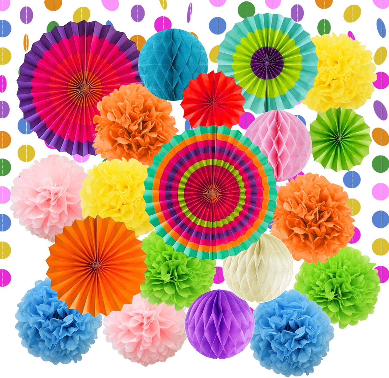 LURICO Decoración de la Fiesta, 21 Piezas Abanicos de Papel Bola de Nido Pom Poms Ventilador de Papel para Colgar Decoración para Cumpleaños Boda Carnaval Bebé Ducha Home Party Supplies Decoración