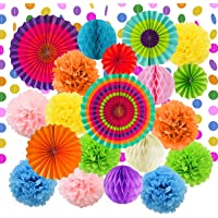 LURICO 21Pcs Fiesta Party Decorations Tissue Paper Pom Poms Flowers Paper Honeycomb Balls Paper Lanterns Hanging Paper Fan Decorations for Birthday Party Wedding Baby Shower Bridal Shower Christmas