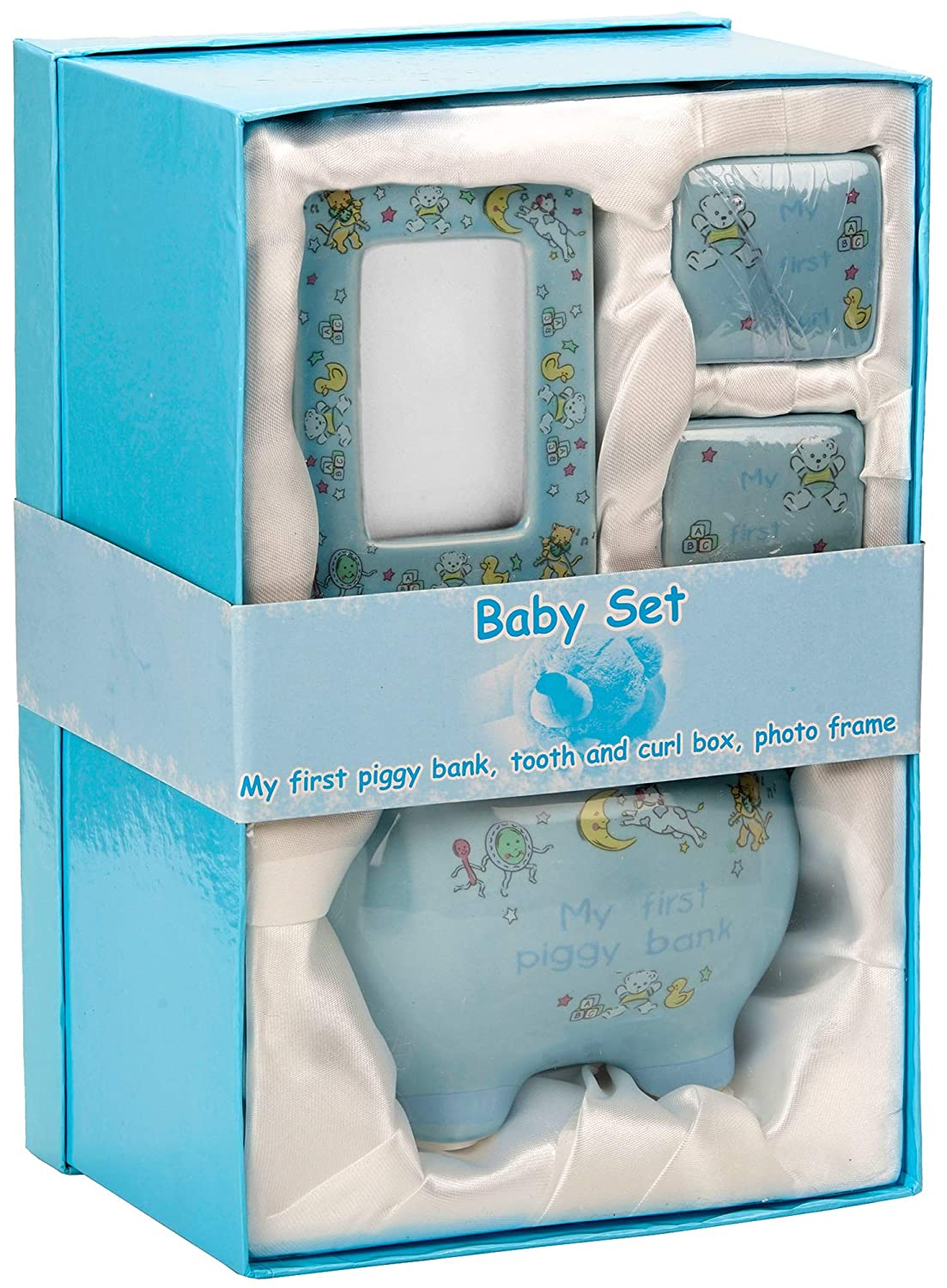 BRUBAKER My First Piggy Bank Gift Set for Baby Boy – 4 Pcs Keepsake Gift Set Includes Piggy Bank, First Curl, First Tooth and Photo Frame – Blue