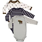 Hudson Baby Baby Long Sleeve Bodysuits, Moose 3Pk, 3-6 Months (6M)