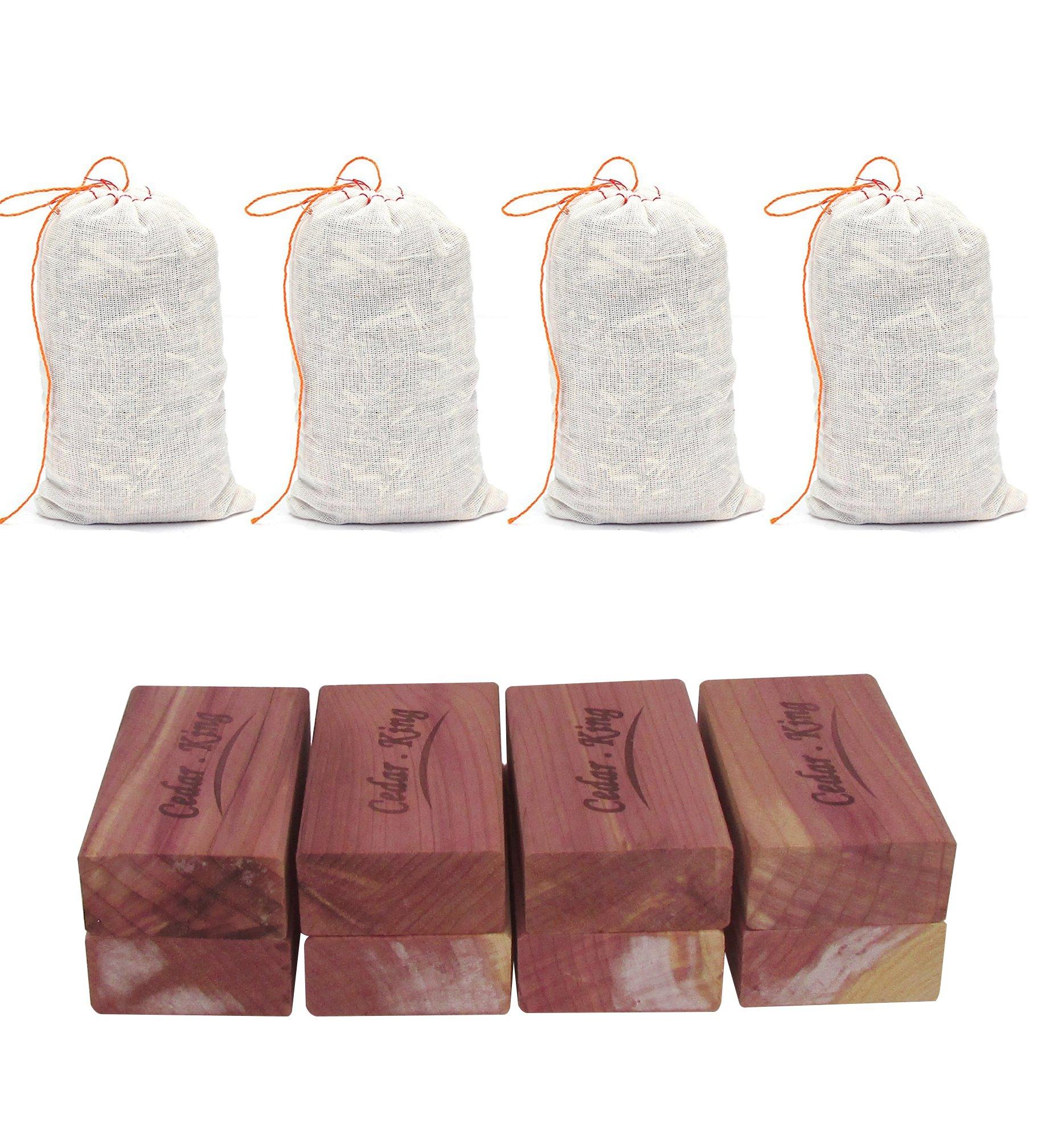 Closet Essentials Cedar King blocks Insect And Moth Repellent Closet and Drawer Storage Protector 1- Box (8 Blocks and 4 cedar sachet Bags)