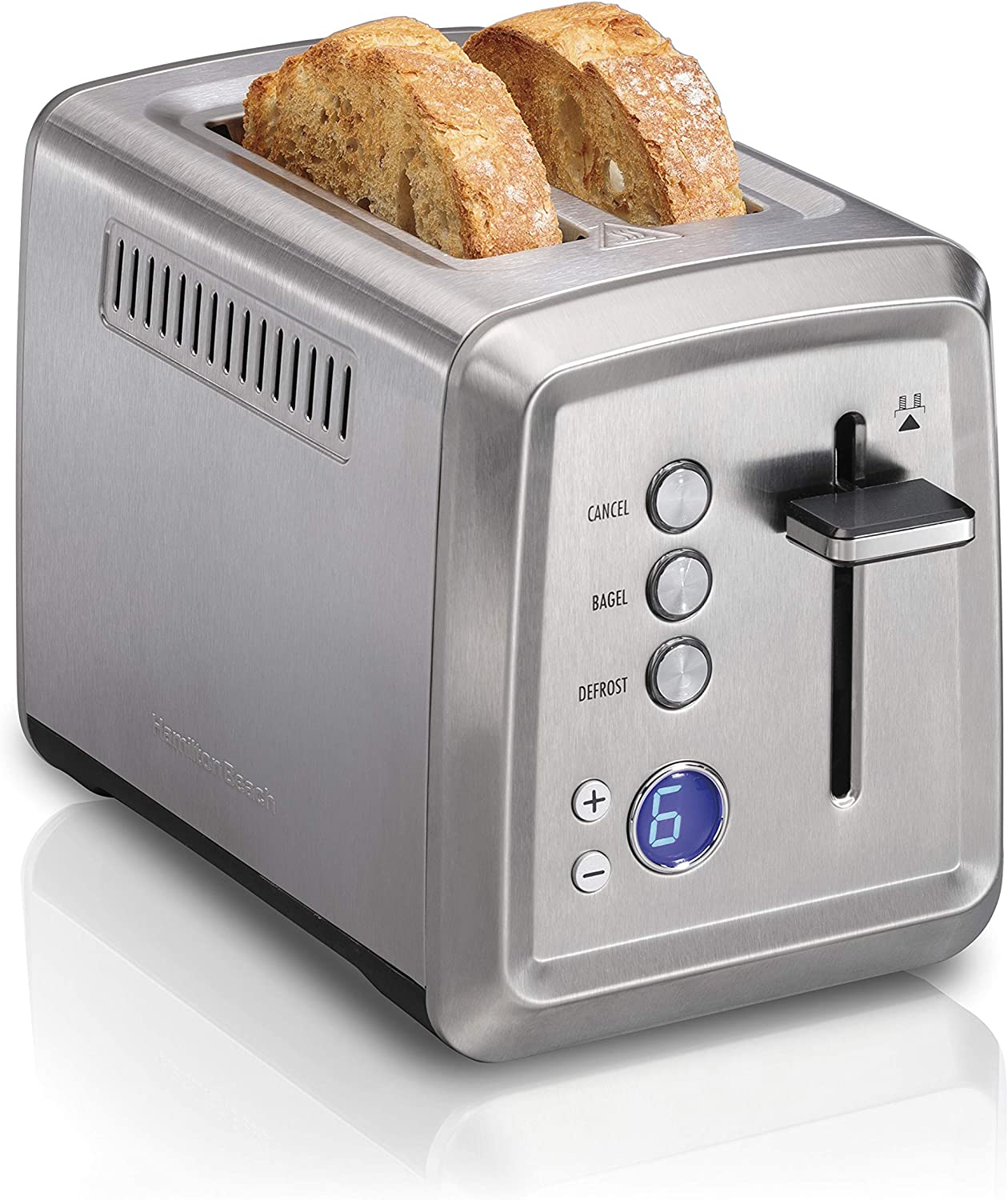 Hamilton Beach Digital 2 Slice Extra-Wide Slot Stainless Steel Toaster with Bagel & Defrost Settings, Toast Boost, Slide-Out Crumb Tray, Auto-Shutoff and Cancel Button (22796)