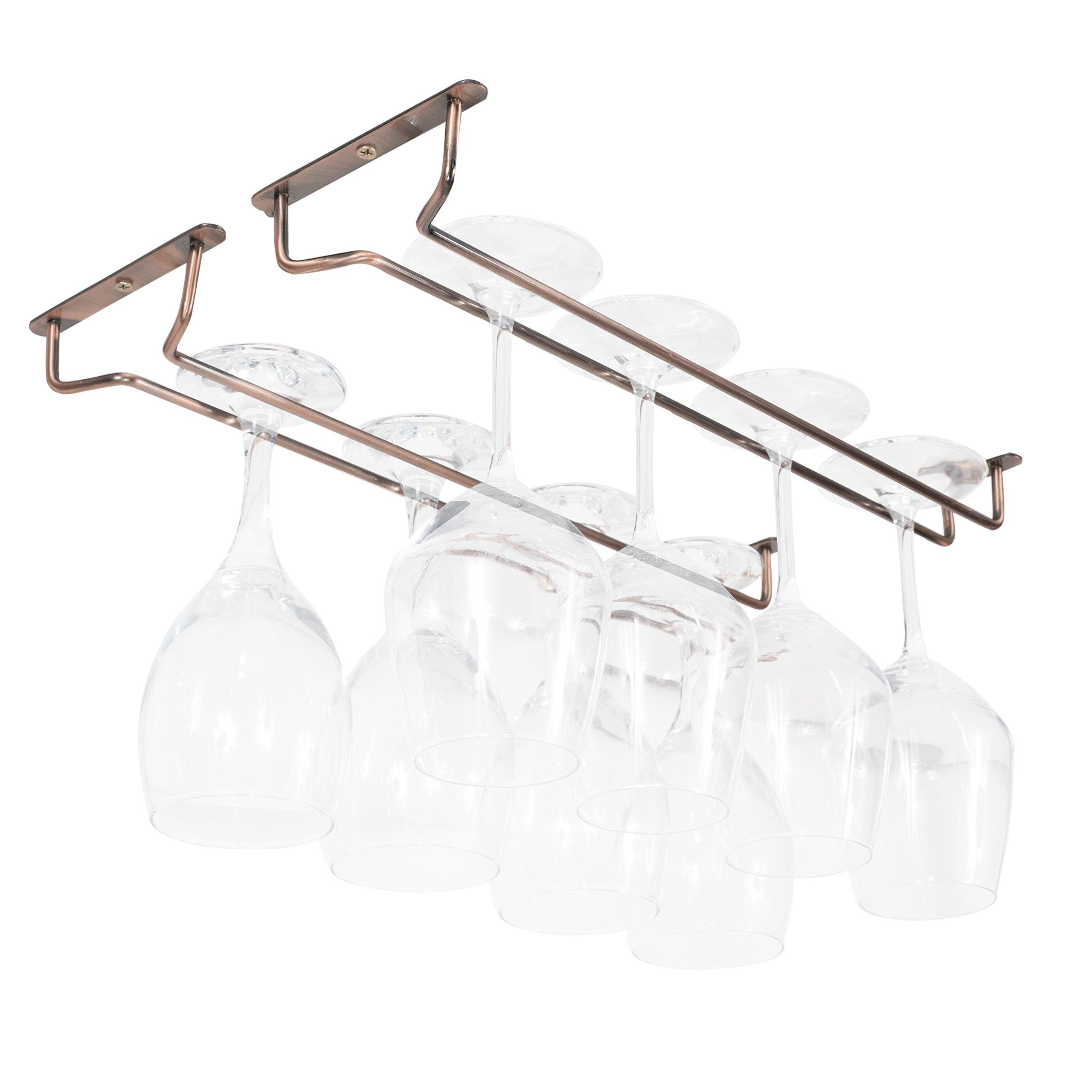 Wallniture Wine Glasses Holder - Under Cabinet Stemware Rack - Steel Oil Rubbed Finish 17 Inch Set of 2