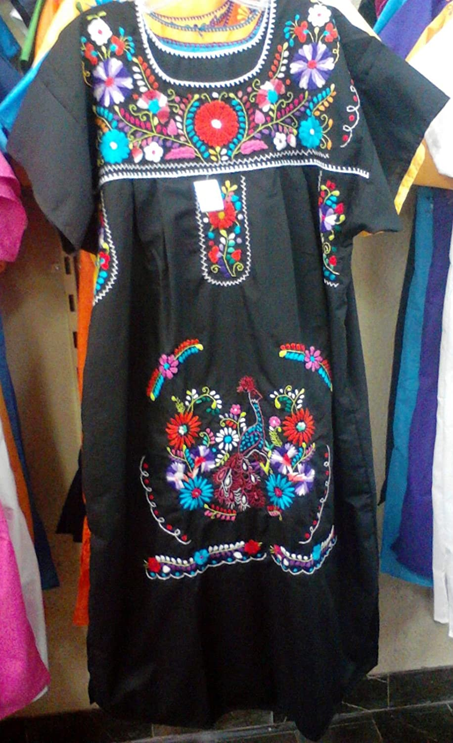 Womens Size: XL/XXL Color: Black Mexican Tehuacan Dress Tunic Floral  Embroidery New: Amazon.com: Industrial & Scientific