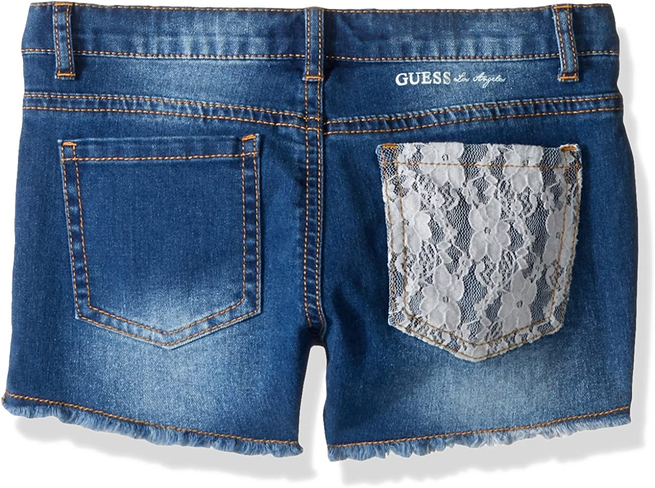 GUESS Girls Little Denim Short with Lace Medium Wash 3T
