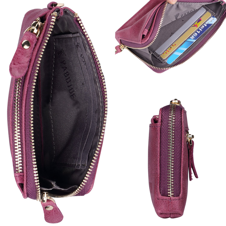 PABOJOE Wallets for Women Soft Leather Zipper Small Hand Purse Minimalist Wristlet Handbags (Purple)