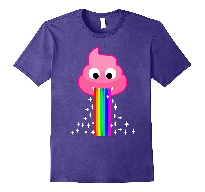 Pink Poop Emoji Face Throw Up Rainbow Vomit Gift T Shirt