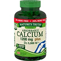 Absorbable Calcium 1200 mg with Vitamin D3 5000 IU | 120 Softgels | Calcium Carbonate...