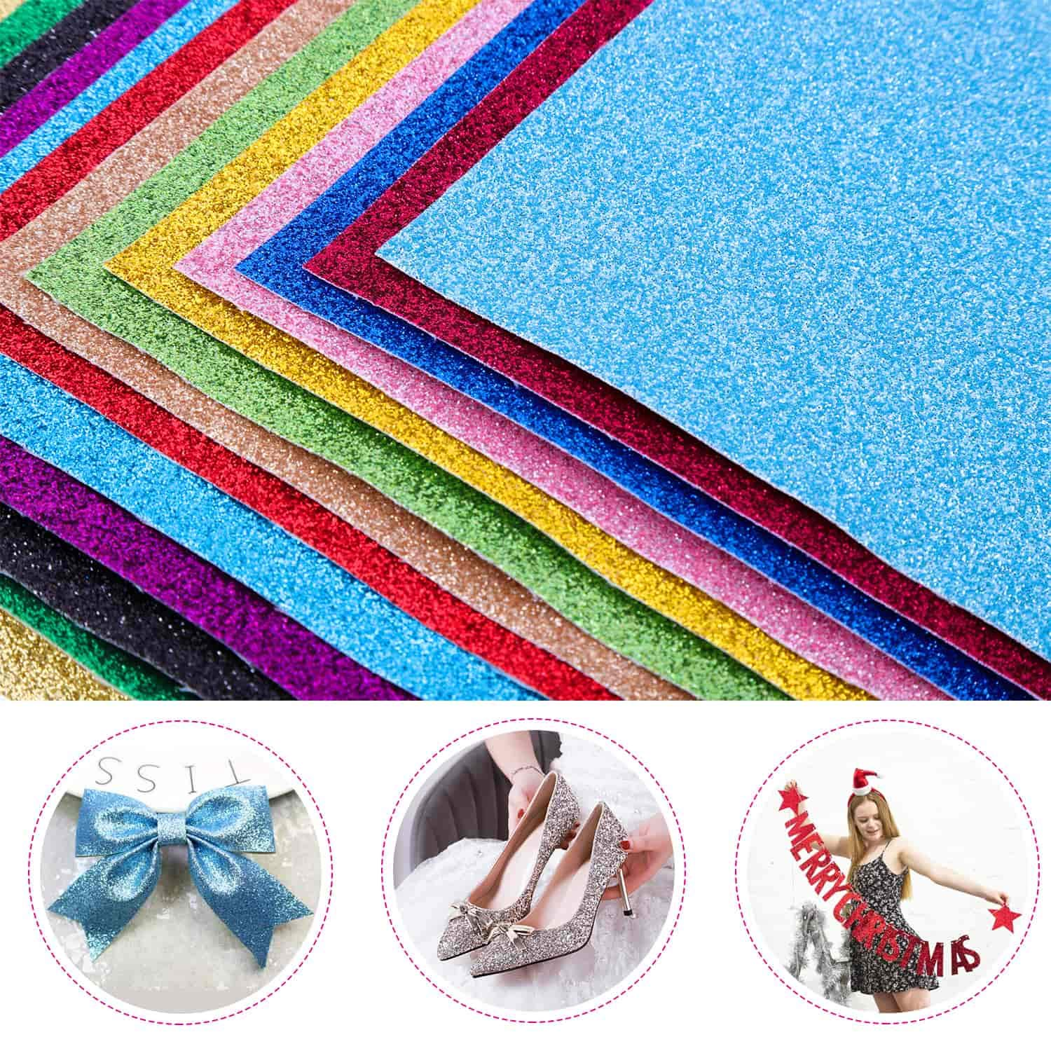 Shynek 20 Pack Faux Leather Sheets Glitter Vinyl Sheets PU Leather Fabric Sheets for Hair Bow Jewelry Making and Hand Crafts 12.6 x 8.6 Inches