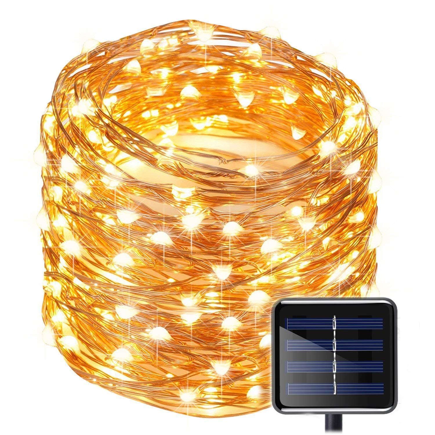 Solar Copper Wire Fairy String Lights 50ft 150LED Starry Strip Lights Waterproof IP65 Solar Christmas Lights Decoration for Garden Outdoor Home Bedroom Holiday Wedding Party Warm White Rope Lights