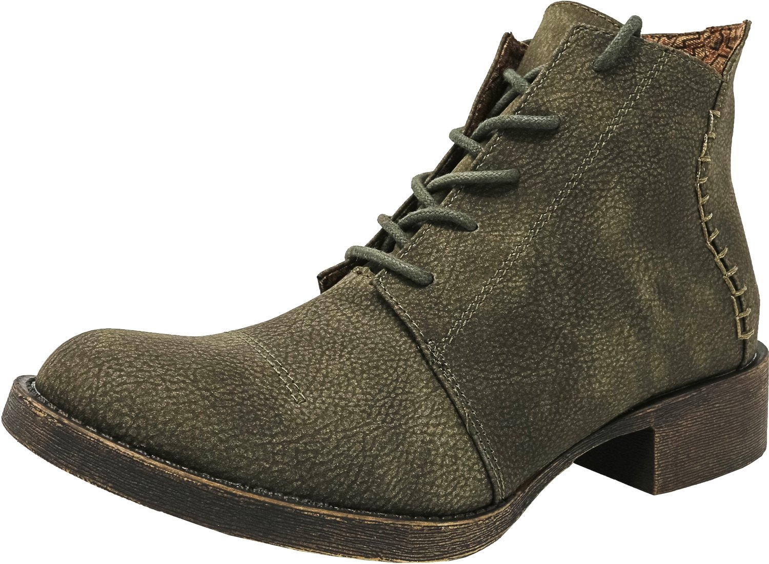 Blowfish Women's Kinder Boot, Olive Saddle Rock PU, 7.5 M US