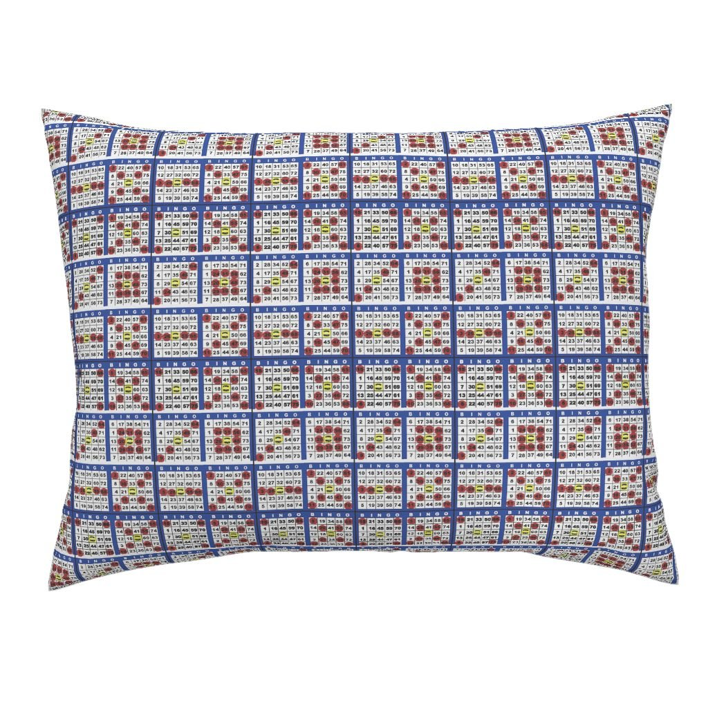 Roostery Bingo Standard Knife Edge Pillow Sham Bingo Cards 6On by Dd BAZ Natural Cotton Sateen Made