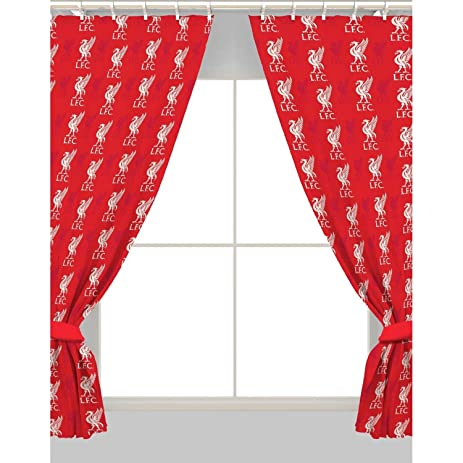Liverpool FC Official Ready Made Repeat Crest Curtains (One Pair) (Red)