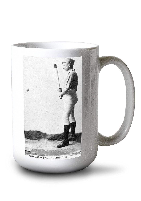 デトロイトWolverines – Lady Baldwin – 野球カード 15oz Mug LANT-3P-15OZ-WHT-22424 B077RX2F23  15oz Mug