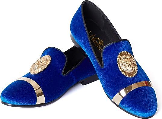 Fit Blue Velvet Loafers Shoes for Men