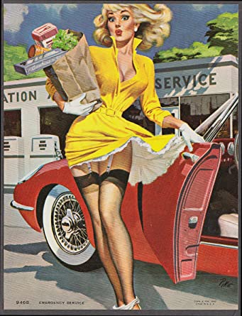 4290dd493 Jay Scott Pike pin-up print Emergency Service panties down at gas ...
