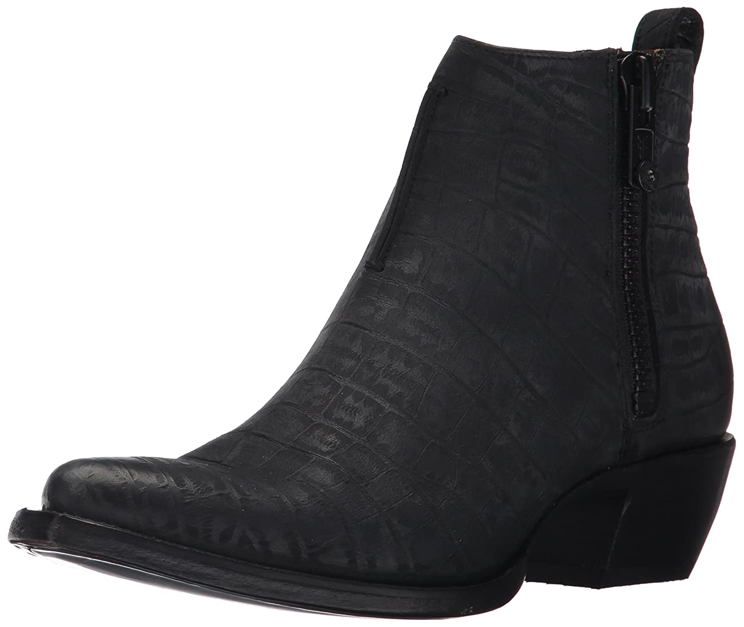 FRYE Women's Sacha Moto Shortie Ankle Bootie B01N0VTFMS 8.5 B(M) US|Black Crocodile Embossed