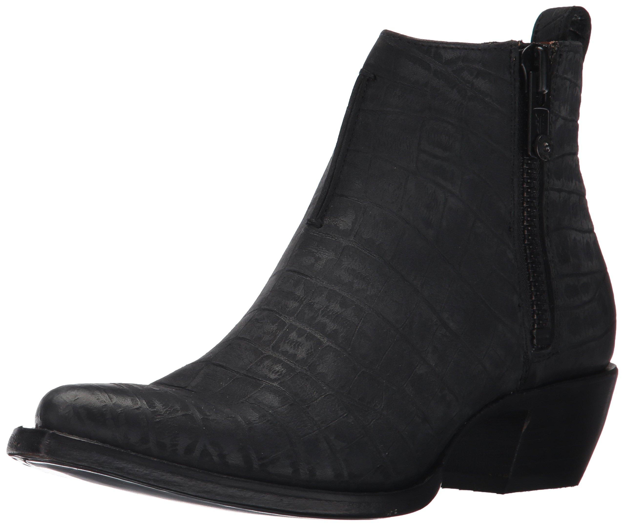 FRYE Women's Sacha Moto Shortie Boot, Black Crocodile Embossed, 6 M US