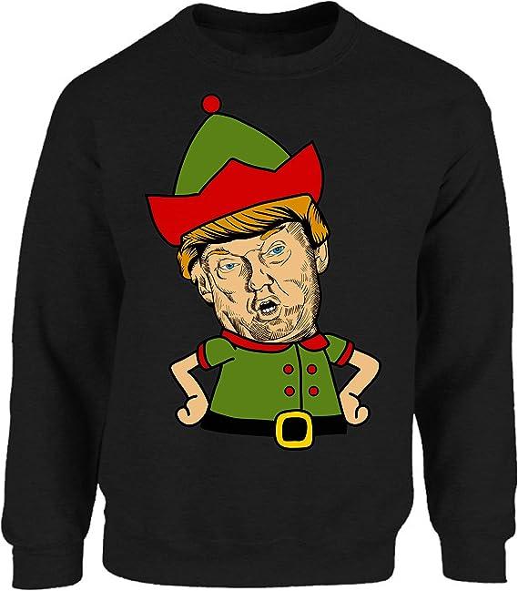 Amazon.com: Vizor Trump Elfo Navidad Sudadera Funny Trump ...
