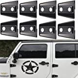 Opar Black Door Hinge Cover for 2007 - 2018 Jeep JK Wrangler Unlimited 4-Door - 8PCS