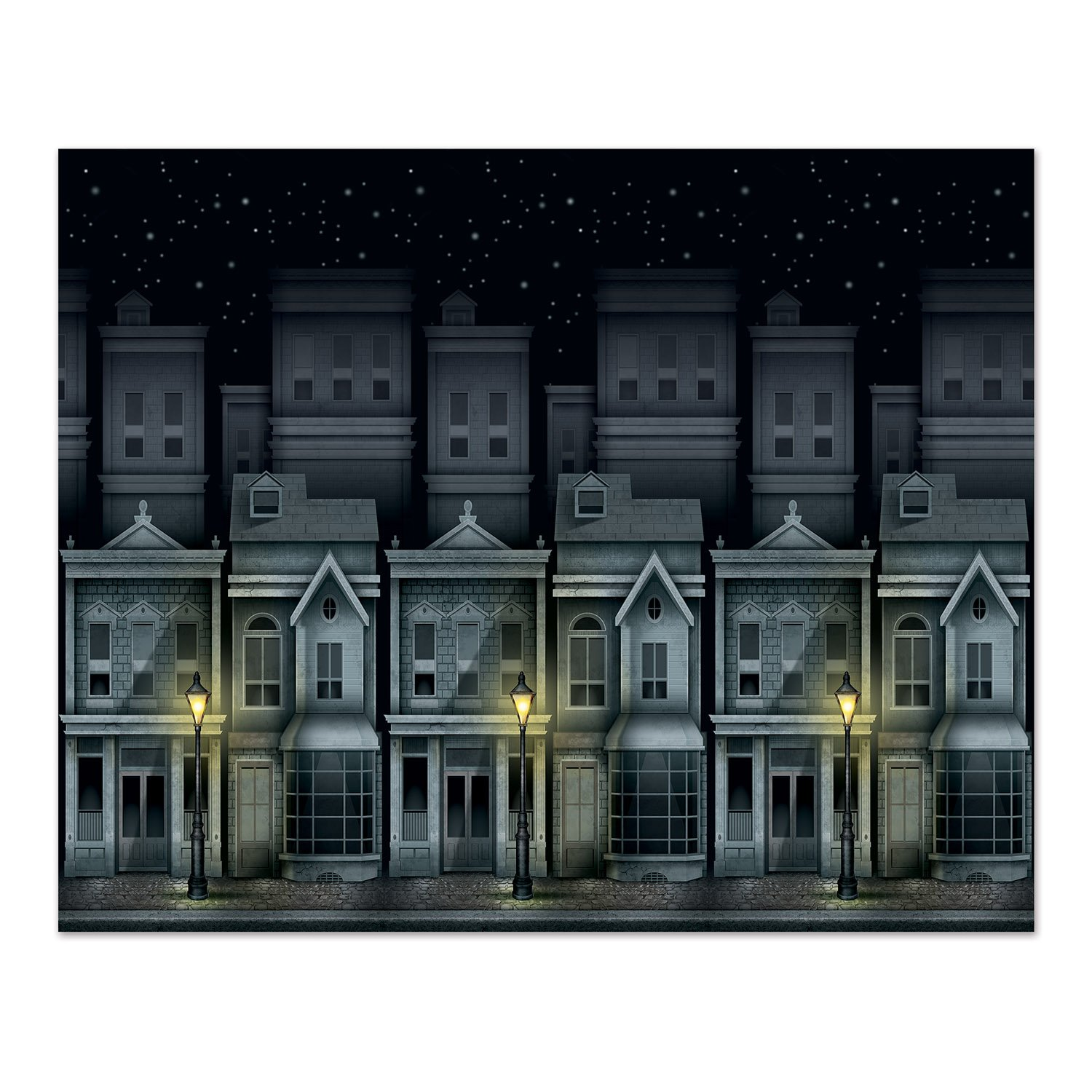 Beistle 52190 Victorian Townscape Backdrop, 4' x 30' by Beistle