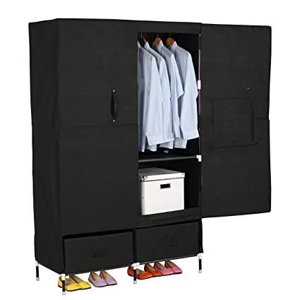 Charming WOLTU Portable Clothes Closet Wardrobe Storage With 2 Drawer Cloth Organizer  With Magnet Doors Steel Shoe