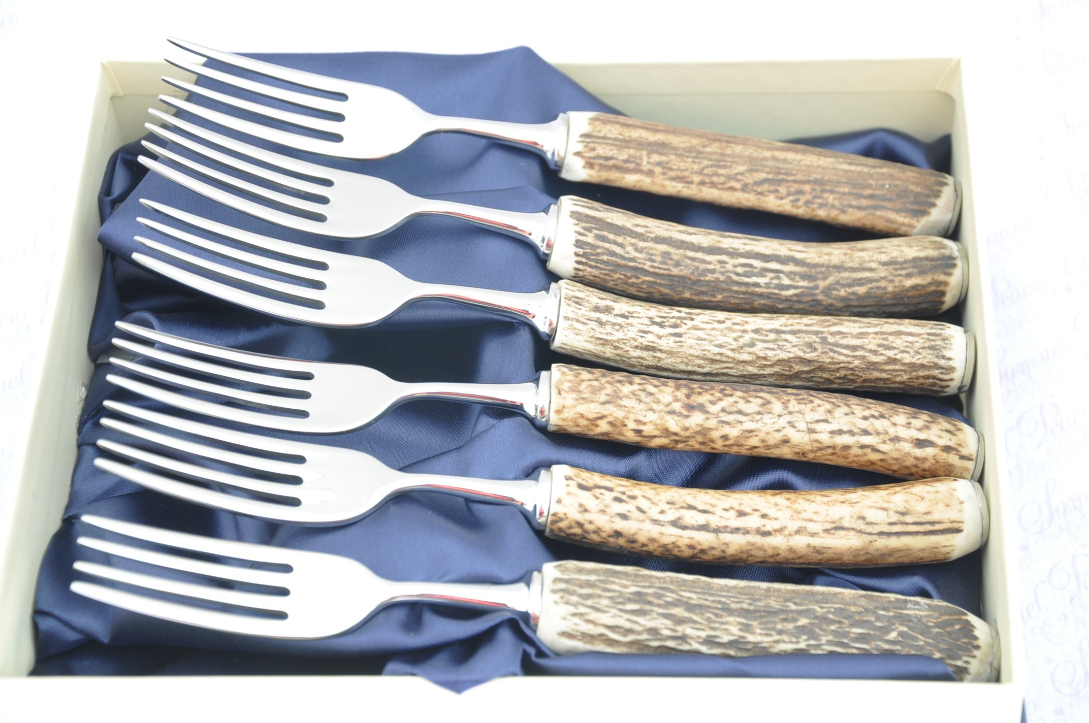 Six Genuine Stag Horn/Antler Handle Table Forks Boxed Made In Sheffield England